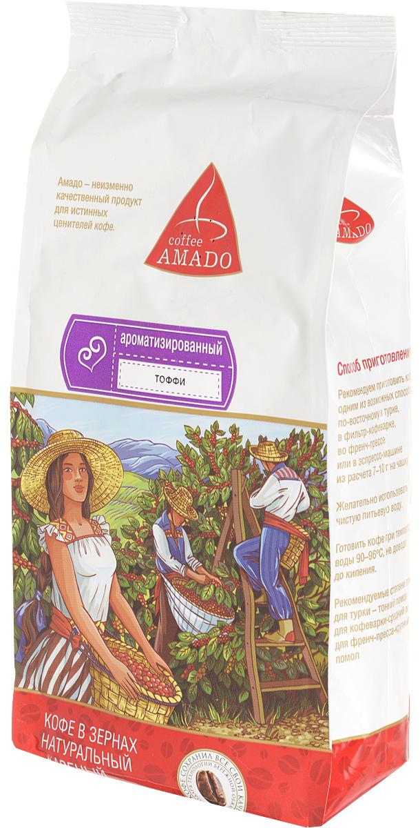 AMADO Тоффи кофе в зернах, 500 г0120710Богатый вкус свежеобжаренного кофе AMADO Тоффи отлично сочетается со сладостью шоколада и сливочным ароматом. Рекомендуемый способ приготовления: по-восточному, френч-пресс, гейзерная кофеварка, фильтр-кофеварка, кемекс, аэропресс.