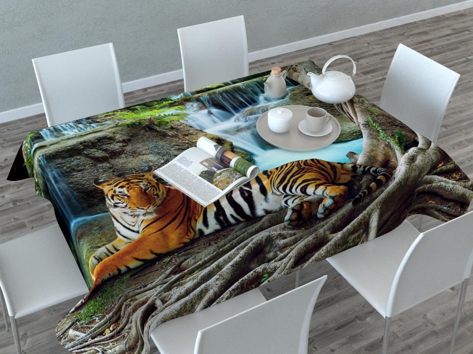 Скатерть Сирень Индийский тигр, прямоугольная, 145 x 120 смVT-1520(SR)Прямоугольная скатерть Сирень Индийский тигр с ярким и объемным рисунком, выполненная из габардина, преобразит вашу кухню, визуально расширит пространство, создаст атмосферу радости и комфорта. Рекомендации по уходу: стирка при 30 градусах, гладить при температуре до 110 градусов.Размер скатерти: 145 х 120 см. Изображение может немного отличаться от реального.
