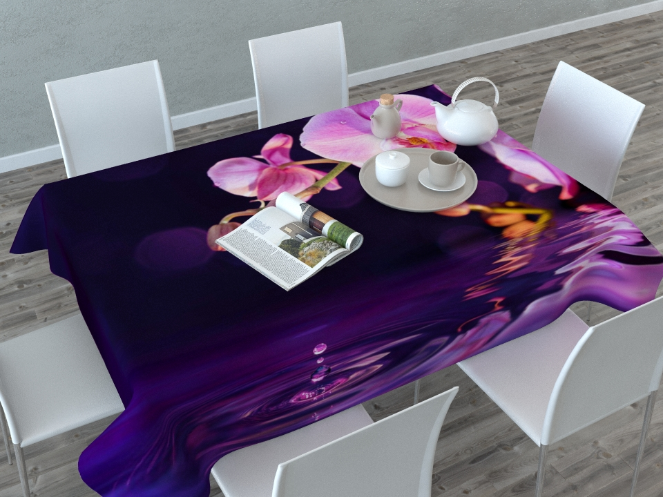 Скатерть Сирень Орхидея над водой, прямоугольная, 145 x 120 см02656-СК-ГБ-003Прямоугольная скатерть Сирень Орхидея над водой с ярким и объемным рисунком, выполненная из габардина, преобразит вашу кухню, визуально расширит пространство, создаст атмосферу радости и комфорта. Рекомендации по уходу: стирка при 30 градусах, гладить при температуре до 110 градусов.Размер скатерти: 145 х 120 см. Изображение может немного отличаться от реального.