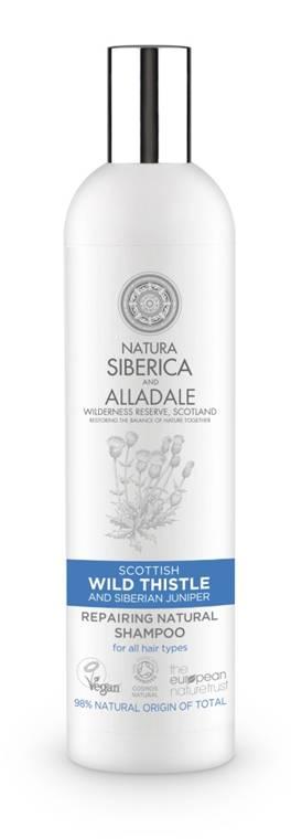 Natura Siberica and Alladale Восстанавливающий шампунь для волос 400 млCF5512F4Натуральный сертифицированный восстанавливающий шампунь на основе органического чертополоха-символа Шотландии и дикого сибирского можжевельника, бережно собранного на нашей органической ферме в Хакассии. Органический экстракт чертополоха глубоко увлажняет волосы, а органический экстракт сибирского можжевельника укрепляет их. Для всех типов волос.
