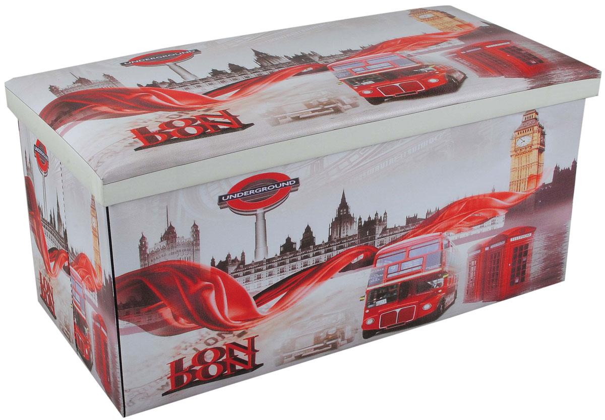 Пуф-короб для хранения HomeMaster Лондон, 76 х 38 х 38 смCL-BOX-L2Очаровательный пуф-короб для хранения HomeMaster Лондон - удобный, компактный и стильный предмет интерьера. Изделие отличает актуальный дизайн и многофункциональность. На пуфе комфортно сидеть - он выдерживает вес до 90 кг. Верхняя часть пуфа представляет собой съемную мягкую крышку. Внутри можно хранить небольшие предметы домашнего обихода. Пуф-короб складной, благодаря чему его удобно хранить и перевозить. Такой пуф-короб займет достойное место в вашей гостиной или прихожей, а яркий рисунок с нотками лондонских мотивов впишется практически в любой интерьер.