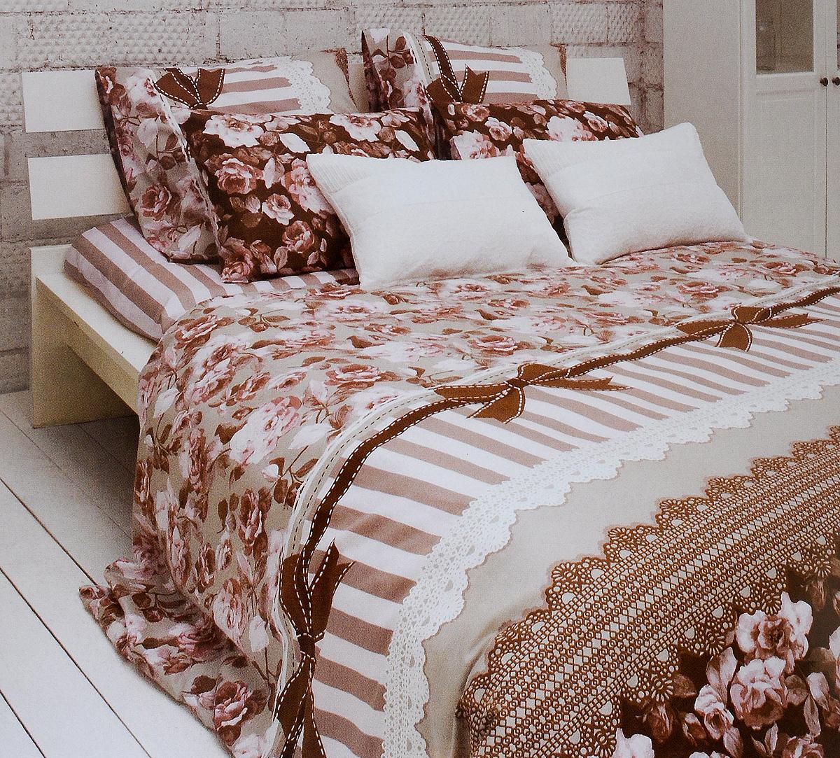 Комплект белья Tiffanys Secret Шоколадный этюд, евро, наволочки 50х70, цвет: розовый, коричневый, белыйCA-3505Комплект постельного белья Tiffanys Secret Шоколадный этюд является экологически безопасным для всей семьи, так как выполнен из сатина (100% хлопок). Комплект состоит из пододеяльника, простыни и двух наволочек. Предметы комплекта оформлены оригинальным рисунком.Благодаря такому комплекту постельного белья вы сможете создать атмосферу уюта и комфорта в вашей спальне.Сатин - это ткань, навсегда покорившая сердца человечества. Ценившие роскошь персы называли ее атлас, а искушенные в прекрасном французы - сатин. Секрет высококачественного сатина в безупречности всего технологического процесса. Эту благородную ткань делают только из отборной натуральной пряжи, которую получают из самого лучшего тонковолокнистого хлопка. Благодаря использованию самой тонкой хлопковой нити получается необычайно мягкое и нежное полотно. Сатиновое постельное белье превращает жаркие летние ночи в прохладные и освежающие, а холодные зимние - в теплые и согревающие. Сатин очень приятен на ощупь, постельное белье из него долговечно, выдерживает более 300 стирок, и лишь спустя долгое время материал начинает немного тускнеть. Оцените все достоинства постельного белья из сатина, выбирая самое лучшее для себя!