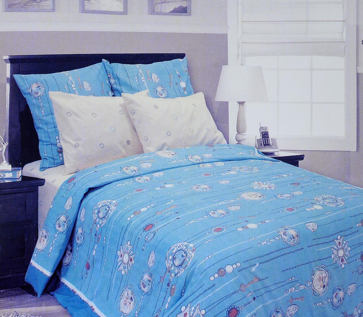 Комплект белья Tiffanys Secret, евро, наволочки 50х70, цвет: бирюзовый, белый, бежевый68/5/4Комплект постельного белья Tiffanys Secret является экологически безопасным для всей семьи, так как выполнен из сатина (100% хлопок). Комплект состоит из пододеяльника, простыни и двух наволочек. Предметы комплекта оформлены оригинальным рисунком.Благодаря такому комплекту постельного белья вы сможете создать атмосферу уюта и комфорта в вашей спальне.Сатин - это ткань, навсегда покорившая сердца человечества. Ценившие роскошь персы называли ее атлас, а искушенные в прекрасном французы - сатин. Секрет высококачественного сатина в безупречности всего технологического процесса. Эту благородную ткань делают только из отборной натуральной пряжи, которую получают из самого лучшего тонковолокнистого хлопка. Благодаря использованию самой тонкой хлопковой нити получается необычайно мягкое и нежное полотно. Сатиновое постельное белье превращает жаркие летние ночи в прохладные и освежающие, а холодные зимние - в теплые и согревающие. Сатин очень приятен на ощупь, постельное белье из него долговечно, выдерживает более 300 стирок, и лишь спустя долгое время материал начинает немного тускнеть. Оцените все достоинства постельного белья из сатина, выбирая самое лучшее для себя!