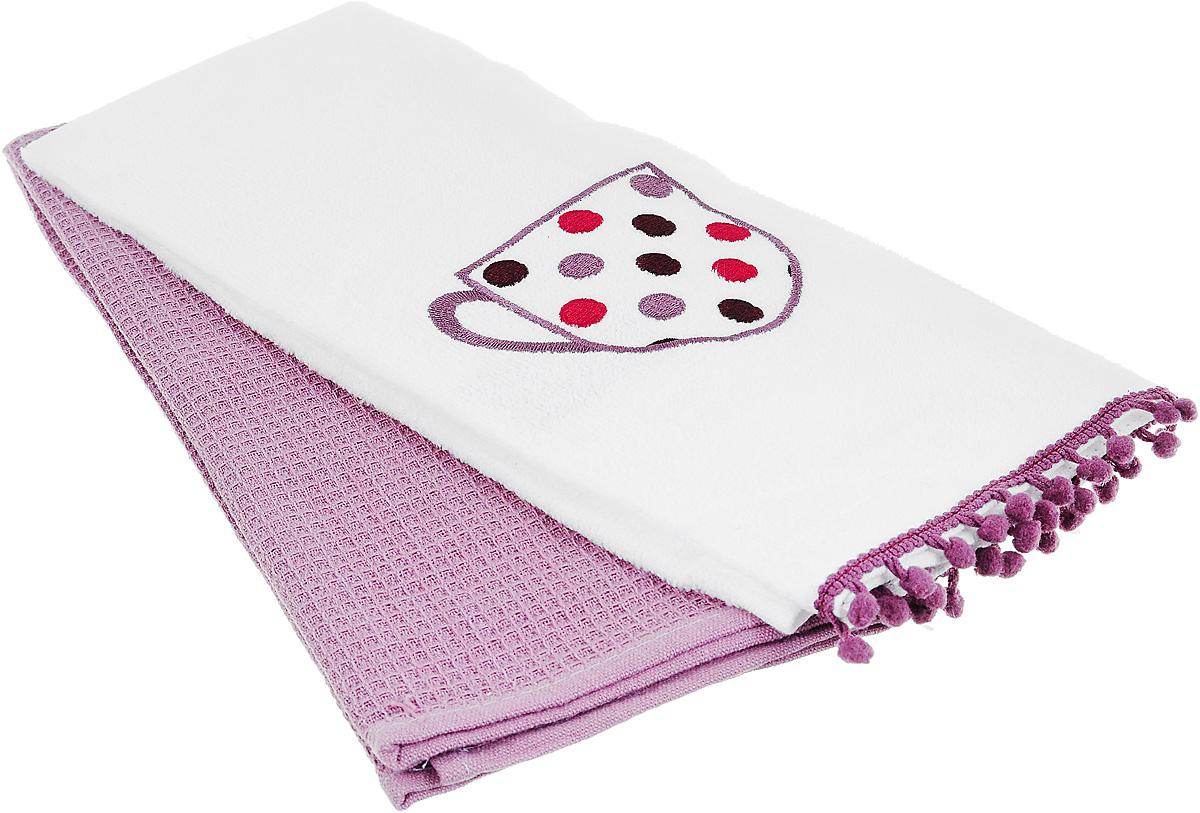 """Набор полотенец Bonita """"Конфетти"""", цвет: белый, лиловый, 38 х 62 см, 2 шт"""