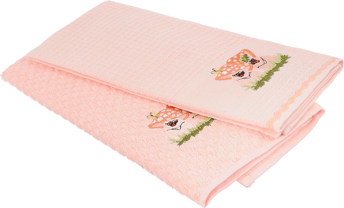 """Набор полотенец Bonita """"Грибы"""", цвет: персиковый, 45 х 70 см, 2 шт"""