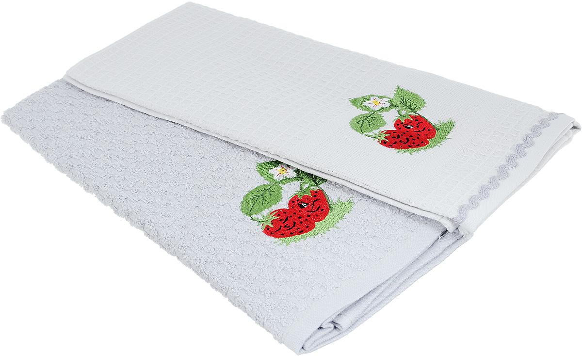 "Набор полотенец Bonita ""Клубника"", цвет: серый, 45 х 70 см, 2 шт"