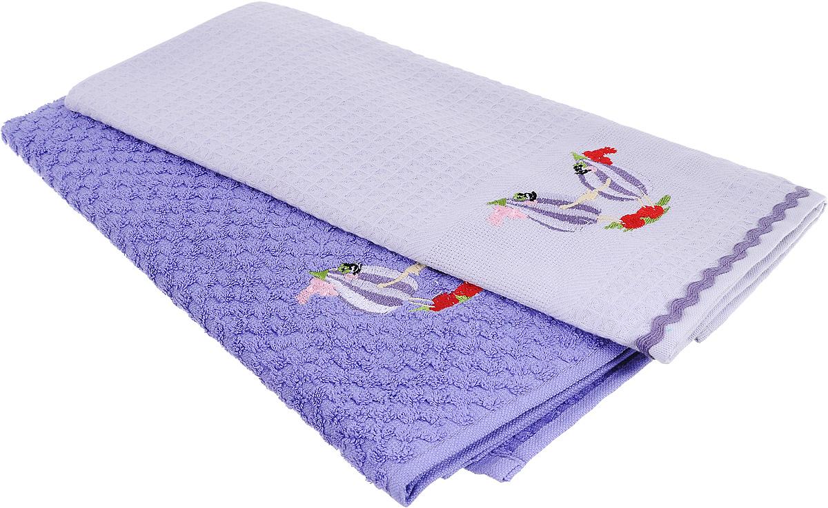 """Набор полотенец Bonita """"Инжир"""", цвет: лиловый, 45 х 70 см, 2 шт"""