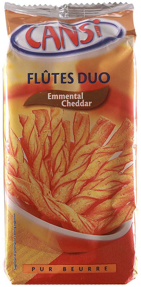 Cansi Палочки слоеные воздушные с сыром эмменталь и чеддер, 125 г0120710Слоеные палочки Cansi - очень быстрый, вкусный перекус или закуска. Можно похрустеть, просматривая любимый фильм в кругу семьи, а можно купить для дружеской пивной посиделки.Продукт натуральный, изготовлен по французской технологии из пшеничной муки высшего сорта и натурального сыра.Воздушные палочки Cansi рекомендуется употреблять в качестве десерта, закуски или в сочетании с кофе или чаем, а также как дополнение к супам.
