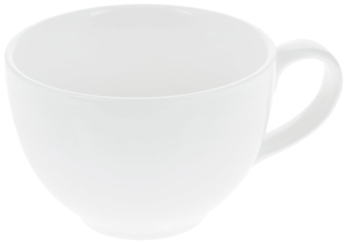 Кружка Wilmax Джамбо, 420 мл54 009312Кружка Wilmax Джамбо изготовлена из высококачественного фарфора, покрытого глазурью. Материал легкий, тонкий, свет без труда проникает сквозь изделие. Посуда имеет роскошную белизну, гладкость и блеск достигаются за счет особой рецептуры глазури. Изделие обладает низкой водопоглощаемостью, высокой термостойкостью и ударопрочностью, а также экологичностью. Посуда долговечна и рассчитана на постоянное интенсивное использование. Гладкая непористая поверхность исключает проникновение бактерий, изделие не будет впитывать посторонние запахи и сохранит первоначальный цвет. Такая кружка пригодится в любом хозяйстве, она функциональная, практичная и легкая в уходе. Диаметр (по верхнему краю): 11 см. Высота стенки: 8 см.