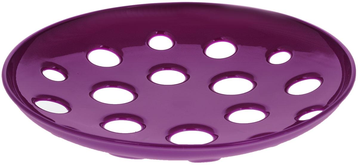 Миска широкая Tescoma Vitamino, цвет: фиолетовый, диаметр 31 см115510Широкая миска Tescoma Vitamino изготовлена из прочного пищевого пластика. Она прекрасно подходит для хранения свежих овощей и фруктов - яблок, груш, бананов, цитрусовых, ананасов, а также перца, помидор и других. Изделие имеет большие отверстия для максимального доступа воздуха к хранимым продуктам, которые дозревают естественным путем и дольше остаются свежими. Подходит для ополаскивания под проточной водой. Можно использовать в холодильнике и мыть в посудомоечной машине. Диаметр (по верхнему краю): 31 см.