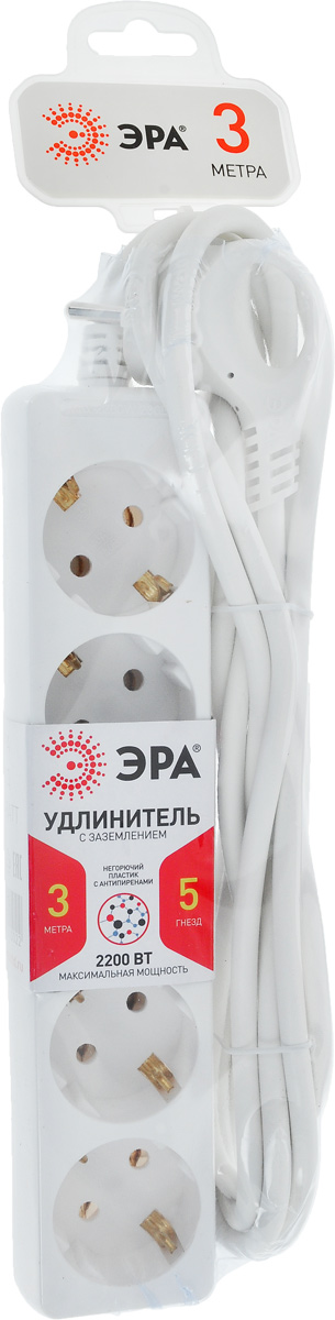 Удлинитель ЭРА U-5e-3m, с заземлением, 5 гнезд, 3 мMC2063-SPУдлинитель ЭРА U-5e-3m предназначен для удобного подключения к сети электроснабжения бытовой и компьютерной техники, позволяет подключить несколько потребителей к одной электрической розетке. Материал корпуса - негорючий полипропилен с антипиренами, устойчив к механическим повреждениям, соответствует требованиям пожаробезопасности. 3 медные жилы сечением 0,75 мм2 обеспечивают допустимую максимальную мощность нагрузки в 2200 Вт. Напряжение номинальное: 220В / 50 Гц. Напряжение максимальное: 250В. Сечение провода: 3 х 0,75 мм2.