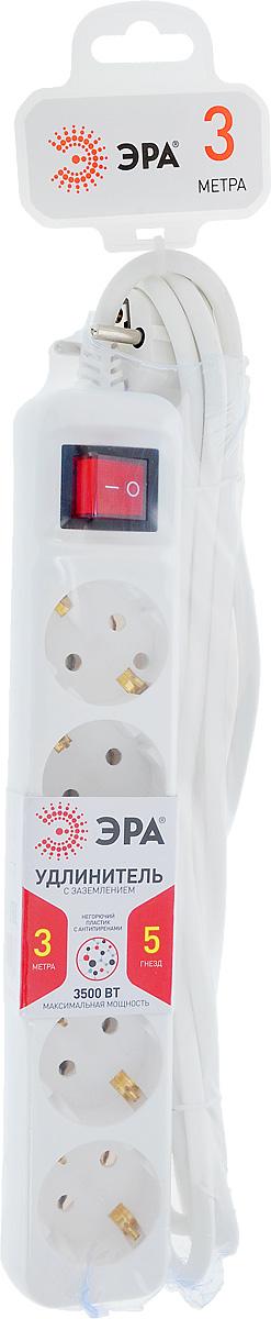 Удлинитель ЭРА U-5es-3m, с заземлением, с выключателем, 5 гнезд, 3 мMC2065-SPУдлинитель ЭРА U-5es-3m предназначен для удобного подключения к сети электроснабжения бытовой и компьютерной техники, позволяет подключить несколько потребителей к одной электрической розетке. Удлинитель снабжен выключателем, который выключает все приборы, подключенные к удлинителю, при этом не нужно вынимать вилки из розетки. Материал корпуса - негорючий полипропилен с антипиренами, устойчив к механическим повреждениям, соответствует требованиям пожаробезопасности. 3 медные жилы сечением 1 мм2 обеспечивают допустимую максимальную мощность нагрузки в 3500 Вт. Напряжение номинальное: 220В / 50 Гц. Напряжение максимальное: 250В. Сечение провода: 3 х 1 мм2.