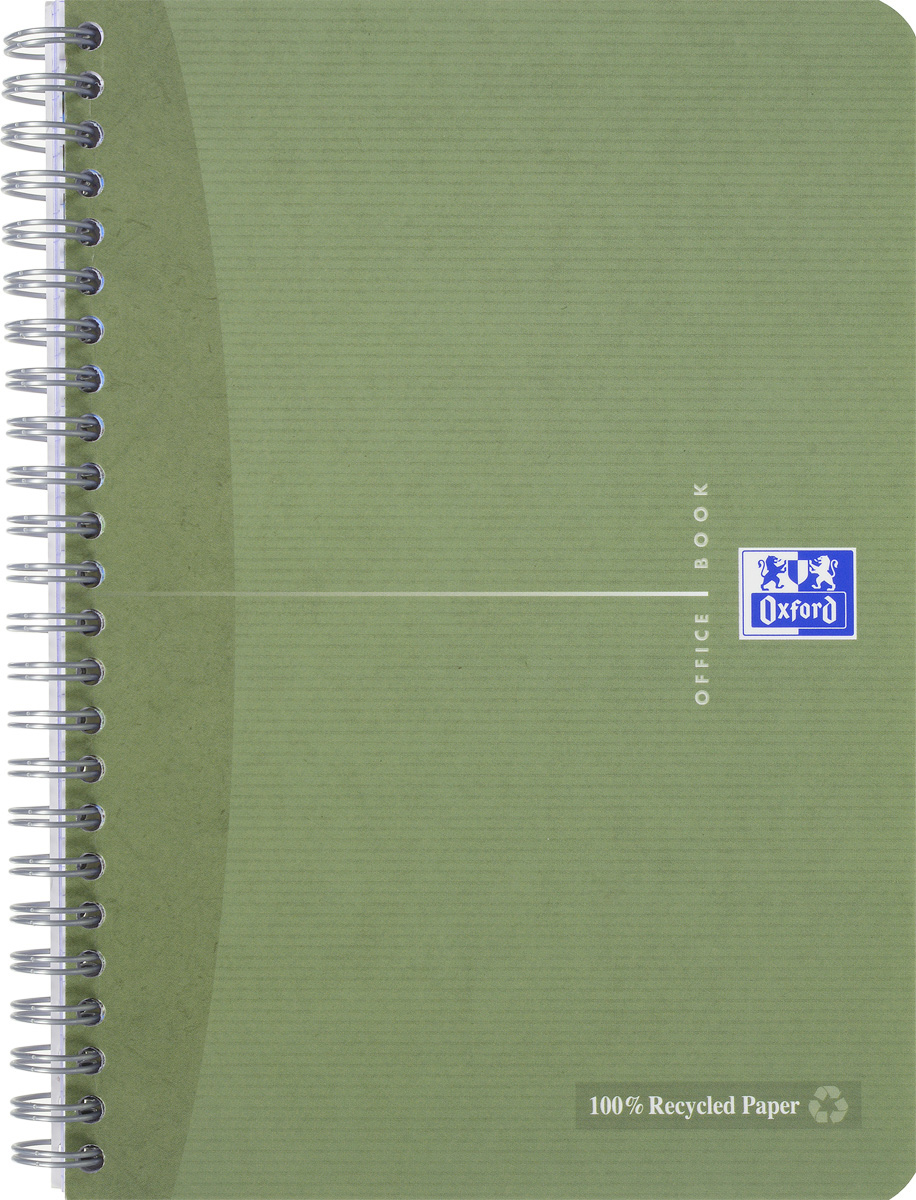 Oxford Тетрадь Эко 90 листов в клетку цвет хаки72523WDСтильная практичная тетрадь Oxford Эко отлично подойдет для офиса и учебы. Тетрадь формата А5 состоит из 90 белых листов с четкой яркой линовкой в клетку. Обложка тетради выполнена из матового картона и оформлена символом Оксфордского университета. Двойная спираль надежно удерживает листы. Также тетрадь имеет скругленные углы и гибкую съемную закладку-линейку из матового пластика с изображением фрагмента дерева.