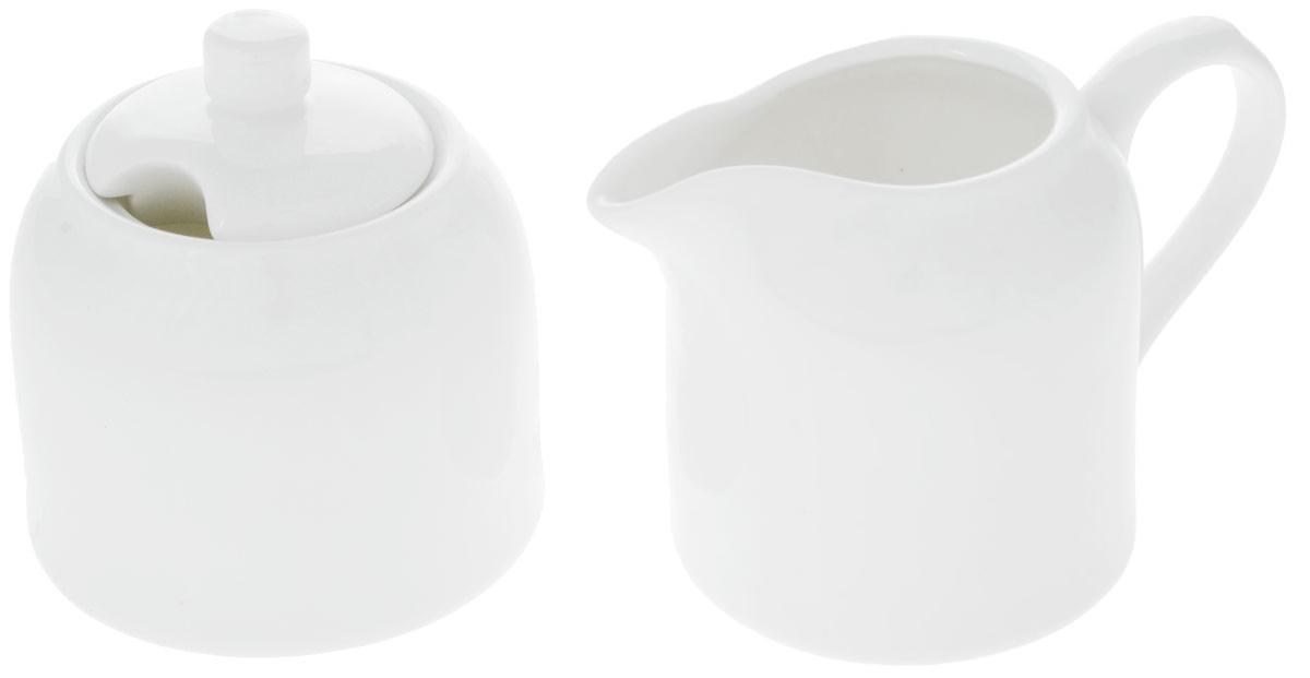 Набор Wilmax: сахарница, молочник. WL-995023 / 2C115010Набор Wilmax состоит из сахарницы и молочника, выполненных из высококачественного фарфора. Глазурованное покрытие обеспечивает легкую очистку. Белизна и прочность материала достигаются благодаря добавлению в состав фарфора магния и алюминия, а гладкость и роскошный блеск - результат особой рецептуры глазури. Фарфор легкий, тонкий, свет без труда проникает сквозь стенки посуды. Изделия обладают низкой водопоглощаемостью, высокой термостойкостью и ударопрочностью, а также экологичностью. Посуда долговечна и рассчитана на постоянное интенсивное использование. Оригинальный дизайн и качество исполнения сделают такой набор настоящим украшением стола к чаепитию. Он удобен в использовании и понравится каждому. Можно мыть в посудомоечной машине и использовать в микроволновой печи. Объем молочника: 250 мл. Размер молочника: 7,5 х 12 х 8 см. Объем сахарницы: 280 мл. Диаметр сахарницы (по верхнему краю): 6,5 см. Высота сахарницы (без учета крышки): 7 см. Высота сахарницы (с учетом крышки): 9 см.