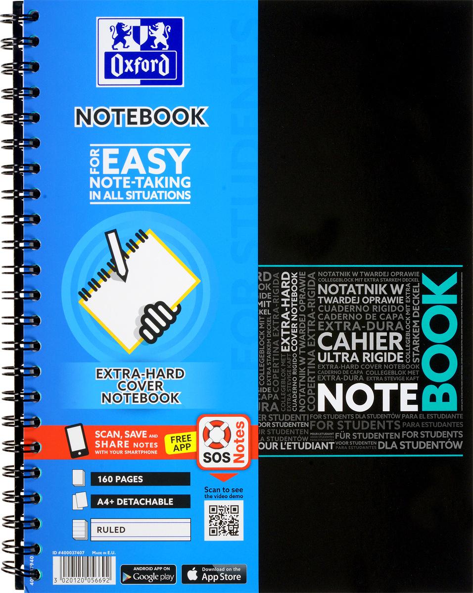 Oxford Тетрадь Sos Notes 80 листов в линейку цвет бирюзовый72523WDКрасивая и практичная тетрадь Oxford Sos Notes отлично подойдет для ведения и хранения заметок. Тетрадь формата А4+ состоит из 80 белых листов с полями и с четкой яркой линовкой в линейку. Обложка тетради выполнена из жесткого ламинированного картона бирюзового и черного цвета. Все ваши записи и заметки всегда будут в безопасности, т.к тетрадь основана на двойной металлической спирали. Также тетрадь имеет острые углы и благодаря специальным меткам на каждой странице и бесплатному приложению SOS Notes для вашего телефона или планшета, вы сможете всегда легко перенести ваши записи и зарисовки с бумажной страницы в смартфон или на компьютер.