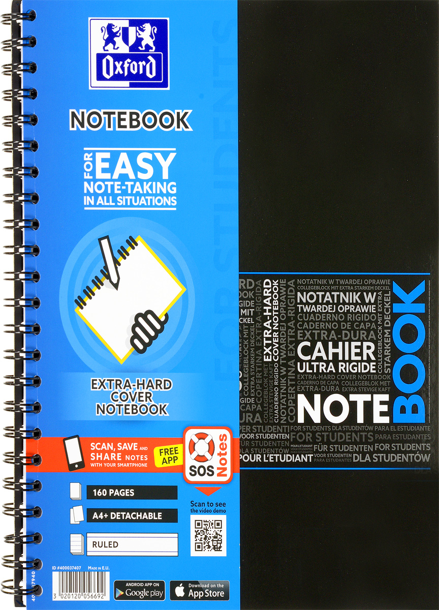 Oxford Тетрадь Sos Notes 80 листов в линейку цвет синий125414Красивая и практичная тетрадь Oxford Sos Notes отлично подойдет для ведения и хранения заметок. Тетрадь формата А4+ состоит из 80 белых листов с полями и с четкой яркой линовкой в линейку. Обложка тетради выполнена из жесткого ламинированного картона синего и черного цвета. Все ваши записи и заметки всегда будут в безопасности, т.к тетрадь основана на двойной металлической спирали. Также тетрадь имеет острые углы и благодаря специальным меткам на каждой странице и бесплатному приложению SOS Notes для вашего телефона или планшета, вы сможете легко перенести ваши записи и зарисовки с бумажной страницы в смартфон или на компьютер.