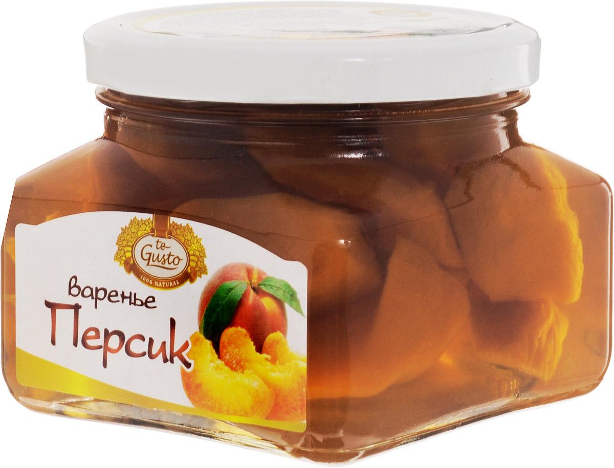 te Gusto Варенье из персика, 430 г0120710Персик обладает полезными и лечебными свойствами для организма, благодаря чему персик широко используется в народной и традиционной медицине. У персика очень полезный состав. Он содержит органические кислоты: яблочная, винная, лимонная, минеральные соли, такие как калий, железо, фосфор, марганец, медь, цинк, селен и магний. Персики богаты хорошим витаминным комплексом: витамин С, витамины группы В, Е, К, РР, а также каротин. В состав персиков также входят пектины и эфирные масла. Очень полезны косточки персика, так как в них содержится горькое миндальное масло и знаменитый витамин В17.Персик - очень ценный продукт в рационе питания человека. Мякоть плодов персика очень сочная, ароматная, освежающая, питательная, легко усваивается. Персик считается деликатесным фруктом. Персик рекомендуют детям, а также ослабленным после болезни лицам для улучшения аппетита. Персики обязательно нужно включать в рацион питания при склонности к запорам и при изжогах. Они усиливают секреторную деятельность желудка, улучшают переваривание жирной пищи. Эти фрукты обладают полезными свойствами при таких недугах как подагра, ревматизм, заболевания почек. Употребление плодов персика полезно при наличии у человека сердечно-сосудистых, почечных заболеваний, болезней печени и желчного пузыря.