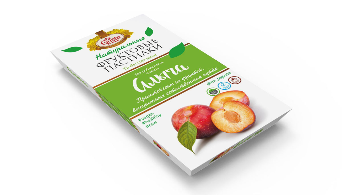 te Gusto Фруктовые пастилки из алычи, 90 г4657155301726Фруктовые пастилки te Gusto без ГМО, глютена, сои, сахара, фруктозы, красителей, усилителей вкуса, загустителей. В составе только один ингредиент – плод, выращенный в экологически чистом районе. Особый способ измельчения плодов позволяет сохранить витамины в первозданном виде. Данный продукт создан для людей, ведущих здоровый образ жизни и уделяющих большое внимание своему питанию. Для спортсменов это полезный и питательный перекус, для вегетарианцев – сладость, не содержащая продуктов животного происхождения, для детей – натуральное лакомство, которое единожды попробовав, они предпочитают шоколадкам, и для всех, вне зависимости от возраста и систем питания – здоровый продукт без красителей, консервантов и подсластителей.