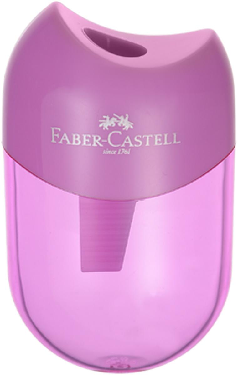 Faber-Castell Мини-точилка с контейнером цвет сиреневый72523WDМини-точилка Faber-Castell выполнена из прочного пластика.В точилке имеется одно отверстие для классических, трехгранных, простых и цветных карандашей.Эргономичная форма контейнера обеспечивает стабильное положение кисти. Карандаш затачивается легко и аккуратно, а опилки после заточки остаются в специальном контейнереповышенной вместимости.