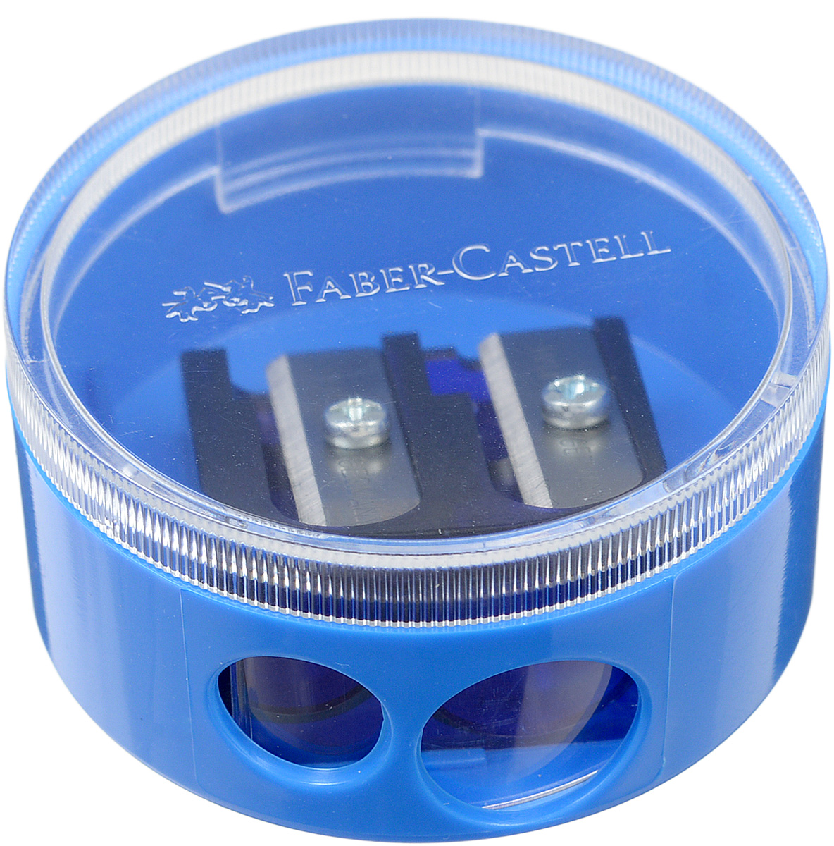 Faber-Castell Точилка двойная цвет голубой0703415Точилка с двумя отверстиями Faber-Castell предназначена для затачивания всех типов карандашей.Благодаря прозрачной крышке можно определить уровень заполнения и вовремя произвести очистку. Острые стальные лезвия обеспечивают высококачественную и точную заточку деревянных карандашей.