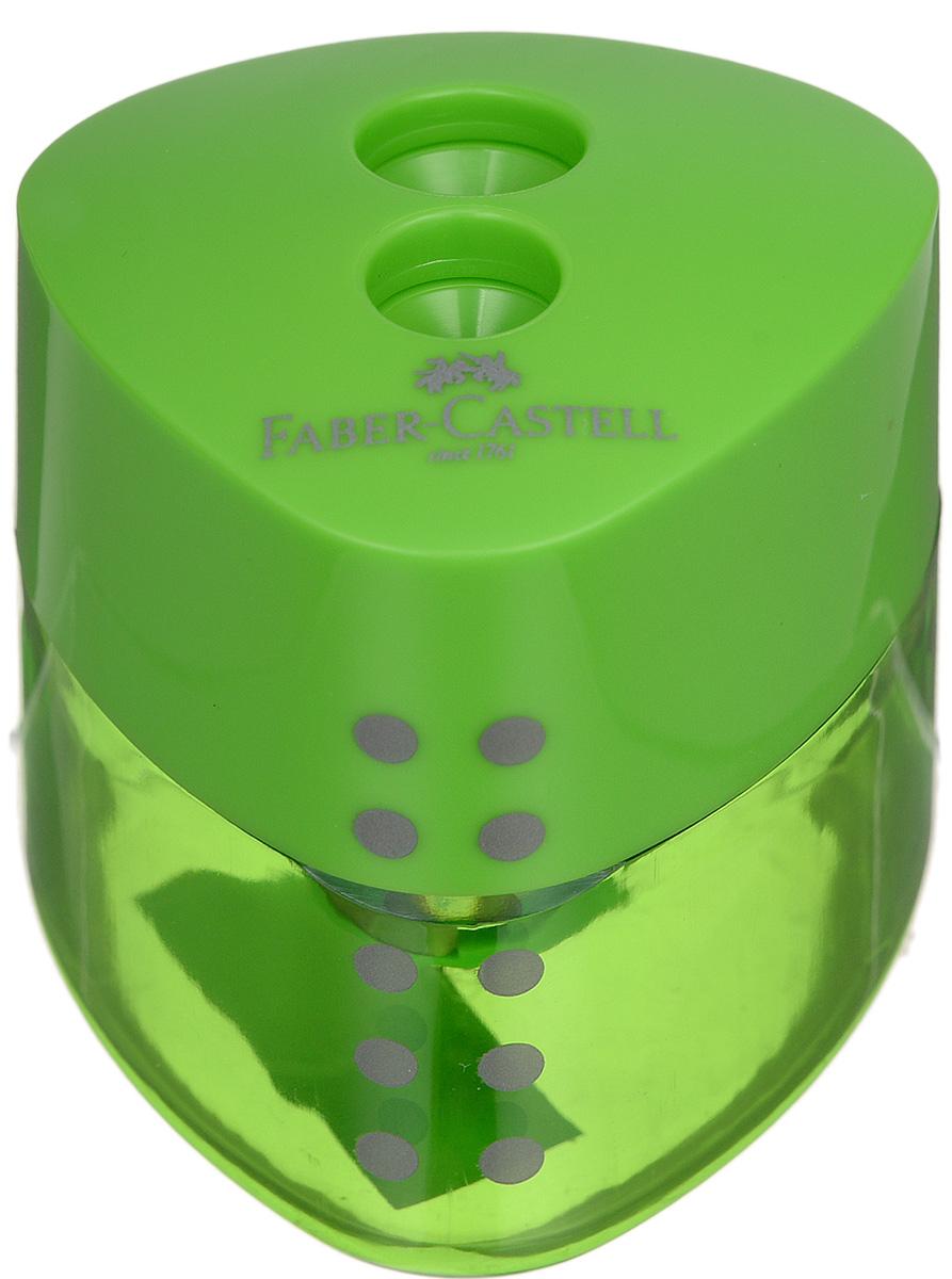 Faber-Castell Точилка Grip цвет зеленыйFS-36054Точилка с автоматическим закрытием Faber-Castell Grip предназначена для затачивания разных типов карандашей.Прозрачный контейнер позволяет визуально определить уровень заполнения и вовремя произвести очистку. Острые стальные лезвия на двух отделениях обеспечивают высококачественную и точную заточку карандашей.