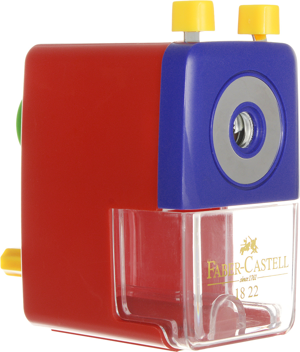 Faber-Castell Точилка настольная цвет красныйASH_красный синийНастольная точилка Faber-Castell предназначена для круглых, шестигранных, трехгранных и цветных карандашей.Изделиеимеет прочное спиральное лезвие, предназначенное для максимально острой заточки карандашей. Точилка оснащена прозрачным контейнером для стружек и специальным зажимом для крепления к столу. Подходит для карандашей диаметром до 8 мм.