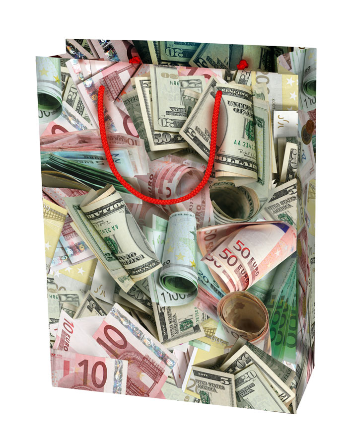 Пакет подарочный Правила Успеха Не в деньгах счастьеRSP-202SБумажный пакет Правила Успеха имеет актуальный дизайн с реалистично изображенными пачками евро и долларов.Подарки в этой упаковке будет смотреться роскошно и благородно.Размер: 30 х 40 х 12 см.
