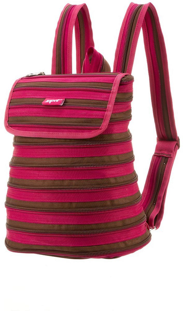 Zipit Рюкзак Zipper Backpack цвет розовый коричневый72523WDРюкзак изготовлен из 1 длинной молнии. Удобное и прочное одно большое внутреннее отделение. Полностью регулируемые ремни.