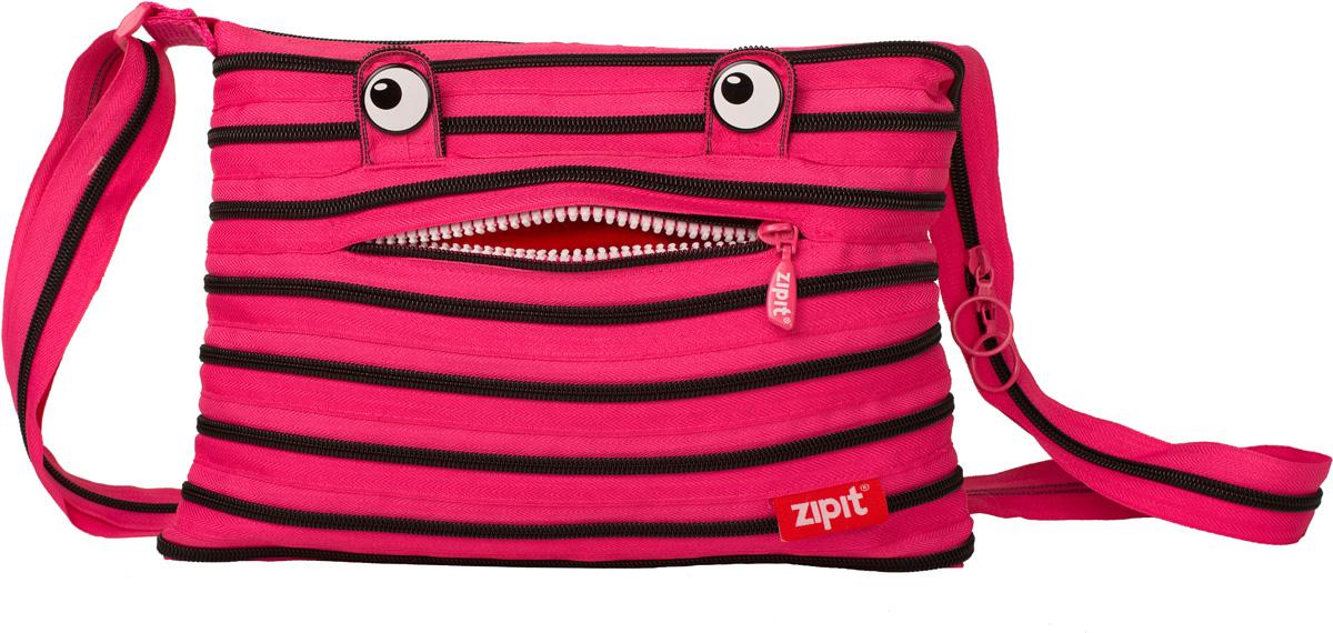 Zipit Сумка Monster Shoulder Bag цвет розовый черный71069с-2СДЕЛАН ИЗ ОДНОЙ ДЛИННОЙ МОЛНИИ! - Конструктивные особенности - одна длинная молния, которая может быть полностью растегнута! Стильная необычная сумка порадует девочек и девушек! Регулируемая лямка через плечо, различные расцветки - каждый выберет для себя то, что хочется! Выделиться из толпы и украсить ваш день поможет сумка zipit.