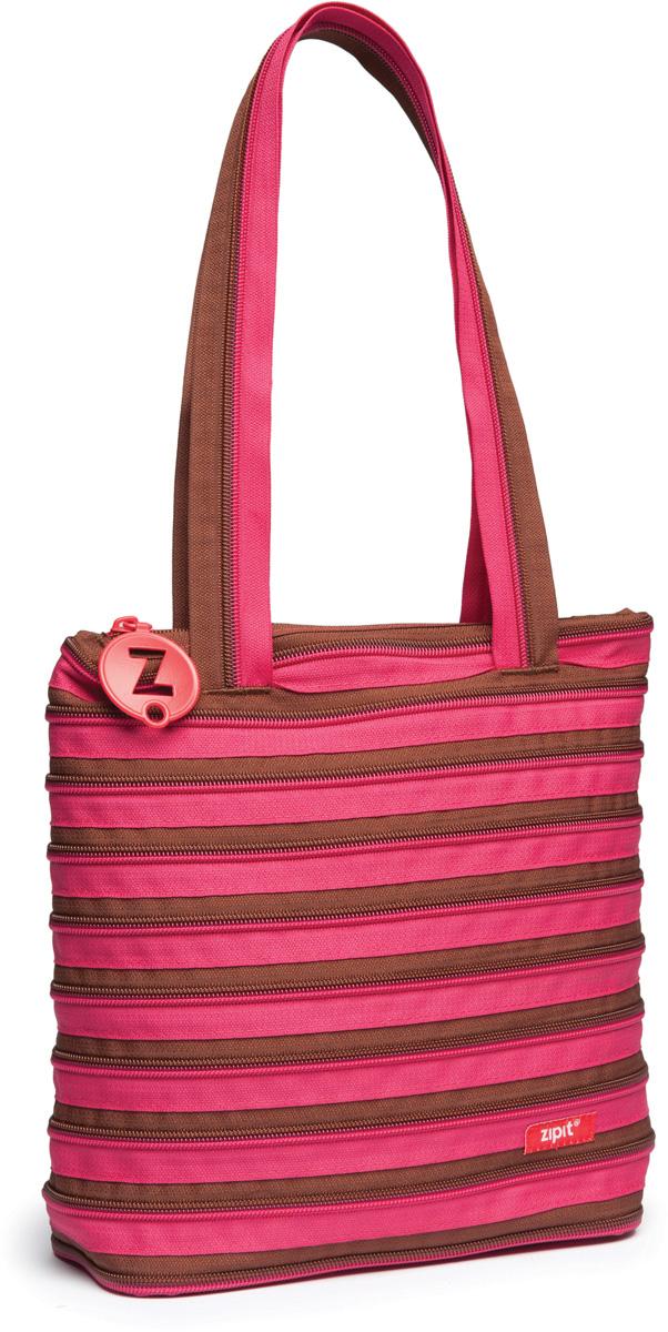 Zipit Сумка Premium Tote Beach Bag цвет розовый коричневыйA-B86-05-CСДЕЛАН ИЗ ОДНОЙ ДЛИННОЙ МОЛНИИ! - Конструктивные особенности - одна длинная молния, которая может быть полностью растегнута! Стильная необычная сумка порадует девочек и девушек! Регулируемая лямка через плечо, различные расцветки - каждый выберет для себя то, что хочется! Выделиться из толпы и украсить ваш день поможет сумка zipit.