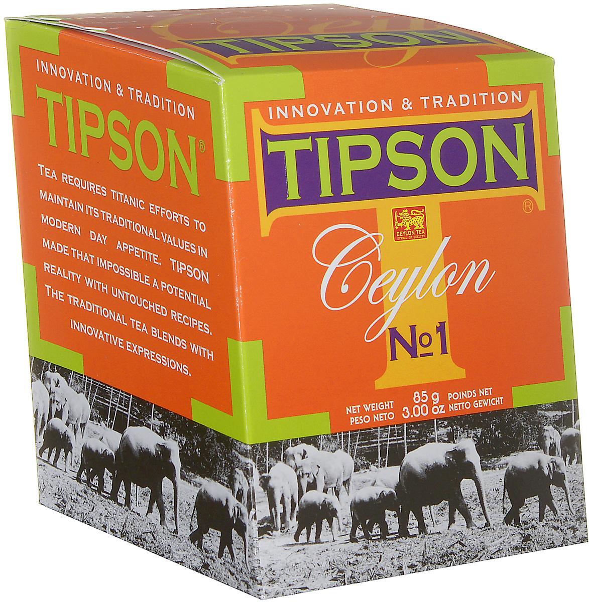 Tipson Ceylon №1 черный листовой чай, 85 г0120710Чай чёрный цейлонский байховый листовой Tipson Ceylon №1. Чай, произрастающий на острове Цейлон, давно признан лучшим в мире. Эксперты Tipson предлагают вам чай №1, в котором найден гармоничный баланс между силой вкуса и элегантностью аромата.Уважаемые клиенты!Обращаем ваше внимание на возможные изменения в дизайне упаковки. Качественные характеристики товара остаются неизменными. Поставка осуществляется в зависимости от наличия на складе.
