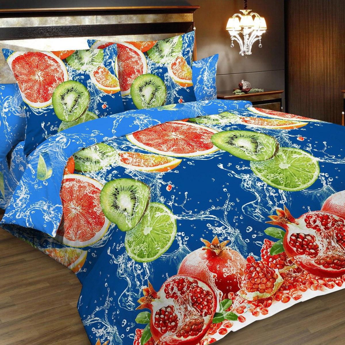 """Комплект белья """"Letto"""", семейный, наволочки 70х70, цвет: синий, красный. B166-7"""
