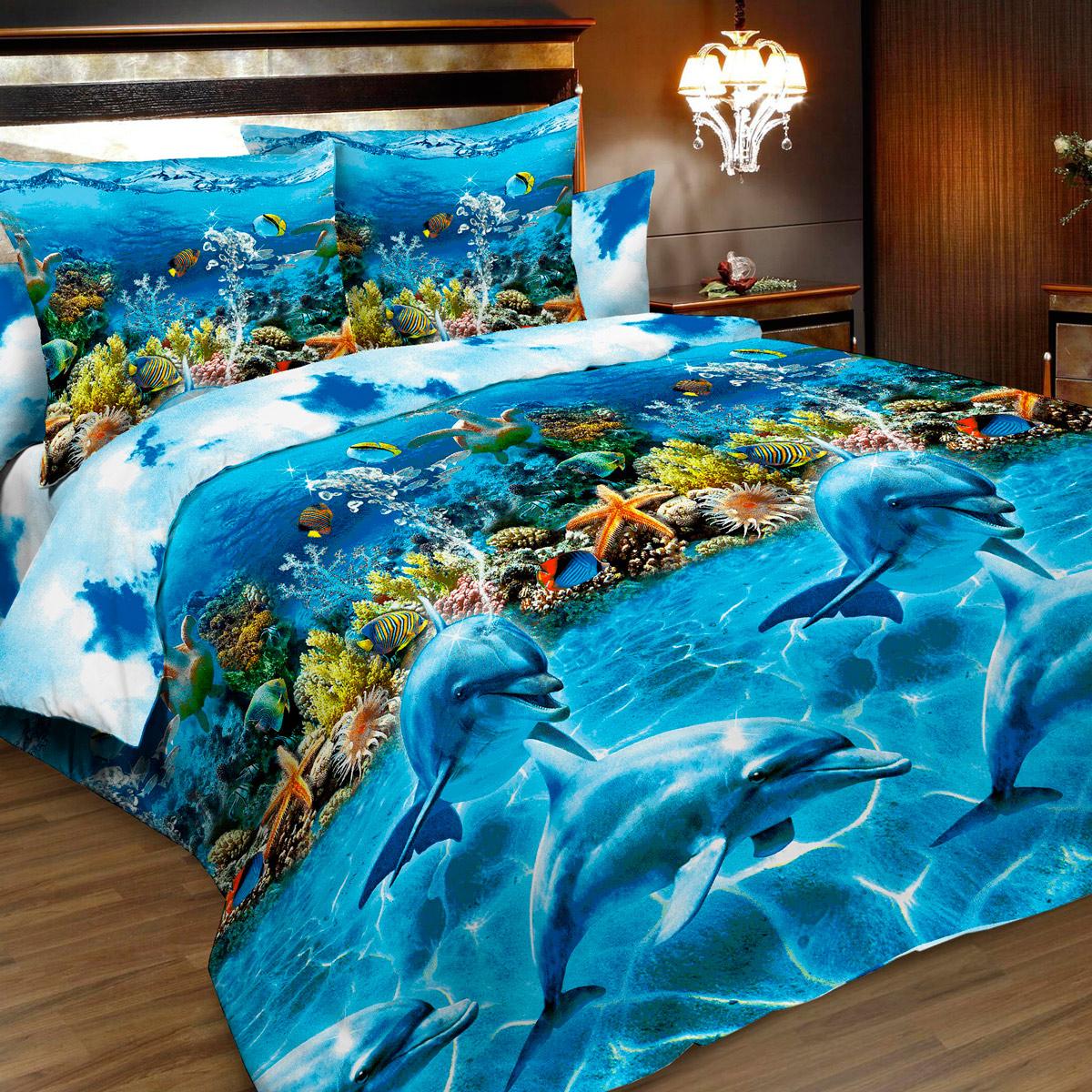 Комплект белья Letto, 2-спальный, наволочки 70х70, цвет: голубой, синий. B183-4 комплект белья letto семейный наволочки 70х70 цвет голубой синий b183 7