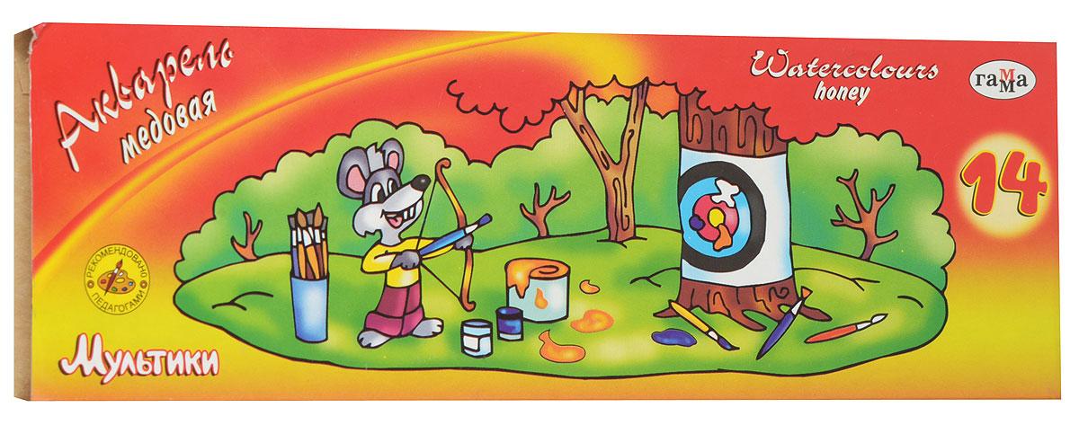 Гамма Акварель медовая Мультики с кистью 14 цветовMDL4280Акварельные полусухие краски Гамма Мультики в удобной пластмассовой упаковке помогут воплотить в жизнь любые художественные замыслы на занятиях в школах, детских садах, художественных кружках или дома. Яркие насыщенные цвета делают процесс рисования более увлекательным. В набор также входит кисточка.