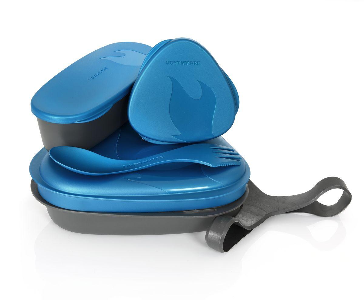 Контейнер для еды с набором посуды Light My Fire LunchKit, цвет: голубой, 5 предметов ловилка light my fire spork original цвет голубой металлик серебристый 17 см 2 шт