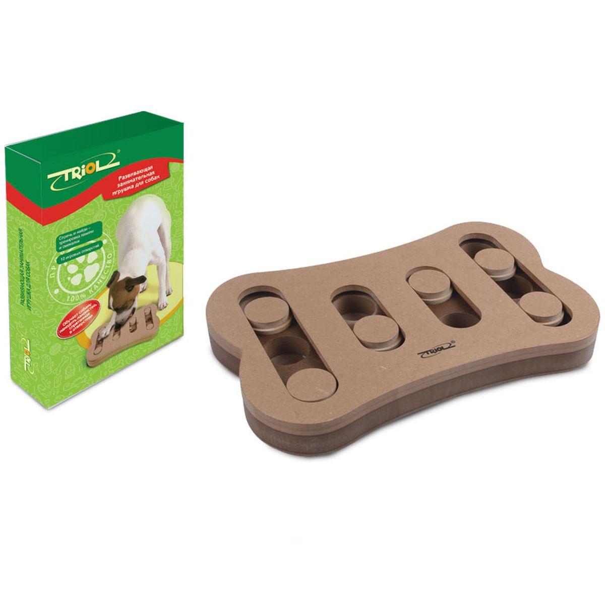 Игрушка для собак Triol, 29,5 х 19 х 3,4 см16418Развивающие игрушки Triol™ не просто скрашивают досуг питомца и его владельца, они помогают в дрессировке, тренируют память и мышление домашних питомцев, да и просто украшают интерьер своим необычным видом. Практичная игрушка, наполняемая кормом, для щенков и собак, займет Вашего четвероногого друга на долгие часы. Вам достаточно лишь спрятать угощение в одной из лунок и накрыть их пятнашками. Используя лапы и нос, собака сама сможет определять, где именно спрятано лакомство, и доставать его оттуда.Игрушка Спрячь и найди предназначена для тренировки памяти и смекалки. На каждой стороне игрушки есть специальные отверстия, вкоторые можно положить кусочки лакомств, чтобы питомцам было гораздо интереснее выполнять задания. Развивающая игрушка-кормушка для собак Triol TT-02 стимулирует охотничьи навыки собаки, стимулируя ее к активному поиску обычного корма или лакомства.