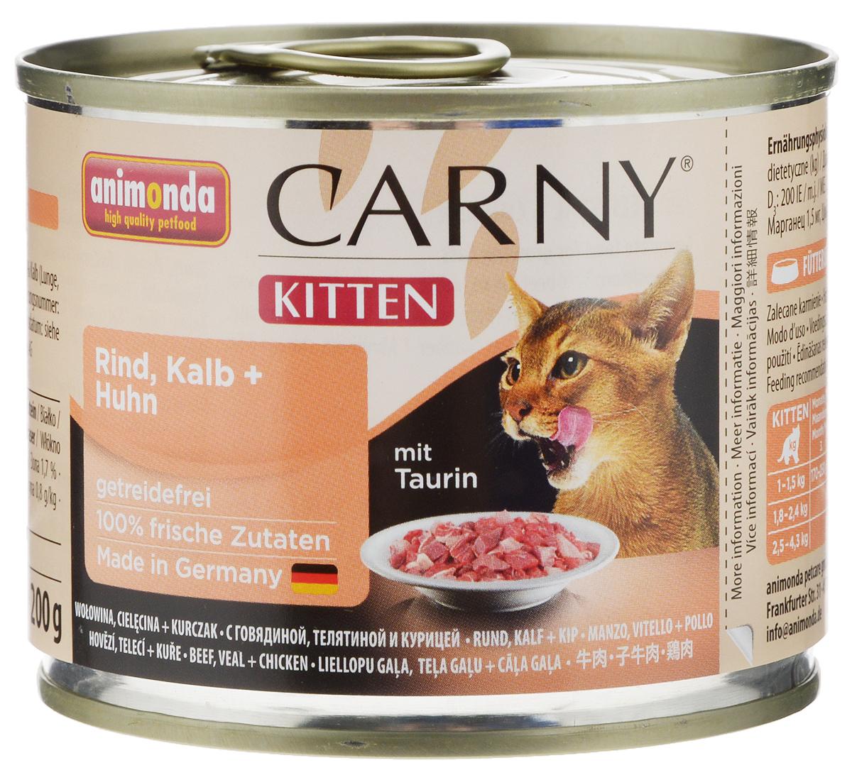 Консервы Animonda Carny для котят, с говядиной, телятиной и курицей, 200 г0120710Консервы Animonda Carny - это высококачественное полноценное консервированное питание для котят. Товар сертифицирован.