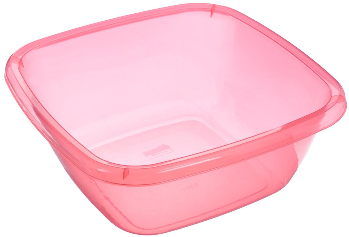 Таз квадратный Dunya Plastik, цвет: красный, 9,5 л контейнер dunya plastik цвет синий прозрачный 2 20 л