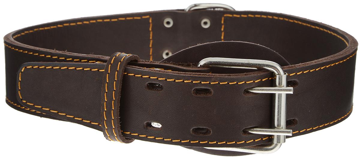 """Ошейник для собак Каскад """"Классика"""", двойной, цвет: темно-коричневый, ширина 4,5 см, обхват шеи 63-72 см. 00045034к"""