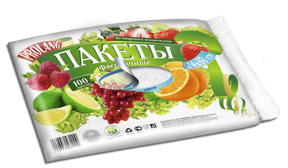 Пакеты фасовочные Prolang, 24 х 36 см, 100 шт1110Пакеты используются для хранения круп, овощей, кондитерских и хлебобулочных изделий, предохраняя их от посторонних запахов и загрязнений. Изготовлены из высококачественного первичного полиэтилена, сертифицированы для применения в контакте с пищевыми продуктами.