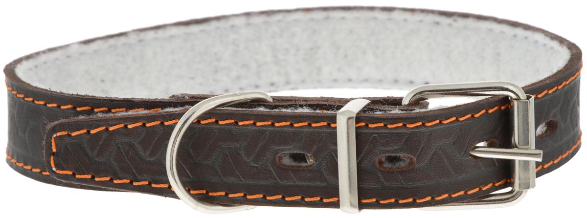 Ошейник для собак Каскад Классика, цвет: темно-коричневый, ширина 2,5 см, обхват шеи 39-46 см. 00025082к0120710Ошейник для собак Каскад Классика, изготовленный из кожи,декорирован красивым орнаментом. Внутренняя сторона ошейника выполнена изсинтепона. Он устойчив к влажности и перепадамтемператур. Клеевой слой, сверхпрочные нити, крепкиеметаллические элементы делают ошейник надежными долговечным.Изделие отличается высоким качеством, удобством иуниверсальностью. Размер ошейника регулируется при помощи пряжки,зафиксированной на одном из 4 отверстий.Минимальный обхват шеи: 39 см.Максимальный обхват шеи: 46 см.Ширина ошейника: 2,5 см.Длина ошейника: 52 см.