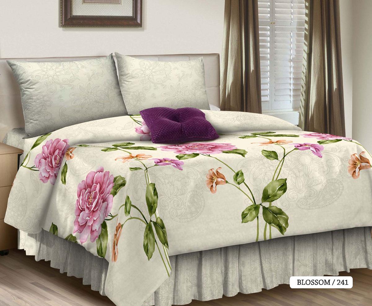 Комплект белья Seta Blossom, 2-спальный, наволочки 50x70016535241Идеальная простота — постельный комплект уютного белого оттенка с крупным принтом. Мерцающая, приятная на ощупь фактура ткани, из которой изготовлены изделия, дополняет эстетический эффект нежнейшим тактильным ощущением. Поплиновое постельное бельё от компании Seta имеет ряд несомненных достоинств: оно хорошо сохраняет форму и цвет, имеет приятную на ощупь поверхность, хорошо удерживает тепло и впитывает влагу. Кроме этого, комплекты постельного белья из поплина не требуют специального ухода: их можно стирать в стиральной машине при температуре до 60°C и утюжить при температуре до 110°C. Ткань поплин гипоаллергенна, отвечает всем европейским экологическим стандартам. И, наконец, такое постельное бельё при всех своих высоких эксплуатационных качествах стоит относительно недорого, изготовлено из 100 % хлопка.