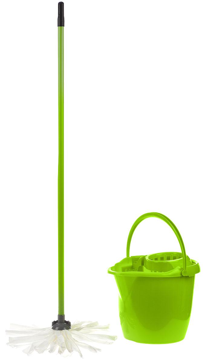 Набор для уборки York Mop Set, цвет: салатовый, 3 предметаCLP446Набор для уборки York состоит из рукоятки для швабры, лепестковой насадки и ведра с отжимом. Рукоятка York изготовлена из металла с пластиковым покрытием по всей длине. Изделие оснащено специальным отверстием, которое позволит повесить его на крючок. Универсальная резьба подходит ко всем швабрам и щеткам. Специальная структура микроактивного волокна лепестковой насадки убирает даже сильные, затвердевшие загрязнения, не оставляя разводов и эффективно впитывает влагу. Благодаря специальному пластиковому ведру со встроенным отжимом, уборка станет быстрой и гигиеничной, так как вы сможете выжимать швабру в предназначенном для этого ведре, не пачкая руки. Ведро оснащено пластиковой ручкой. Набор для уборки York предназначен для уборки любых типов напольных покрытий, включая паркет и ламинат.Такой набор сделает уборку легкой и обеспечит идеальную чистоту вашего пола без разводов и царапин.Размер ведра по верхнему краю: 34 х 29 см.Высота ведра: 26 см.Объем ведра: 12 л.Длина черенка: 108 см.Диаметр черенка: 1,8 см. Средняя длина волокон лепестковой насадки: 19,5 см.Диаметр отверстия для черенка: 1,8 см.
