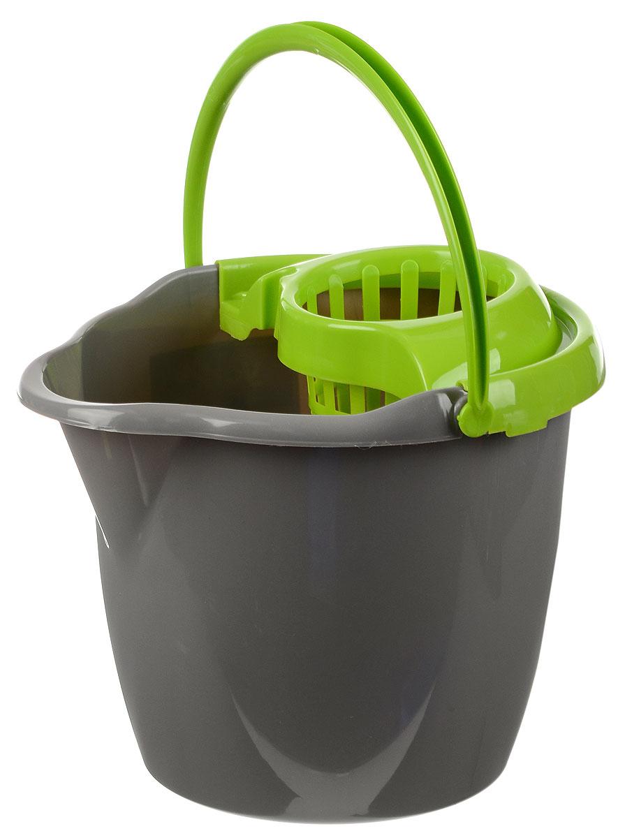 Ведро для уборки York, с насадкой для отжима швабры, цвет: салатовый, серый, 12 л787502Ведро York, изготовленное из прочного полипропилена, порадует практичных хозяек. Изделие снабжено специальной насадкой, которая обеспечивает интенсивный отжим ленточных швабр. Это значительно уменьшает физические нагрузки при мытье полов. Насадка надежно крепится на ведро и также легко снимается, позволяя хранить ее отдельно. Для удобного использования ведро оснащено эргономичной ручкой.Размер ведра (по верхнему краю): 33 х 30 см.Высота: 27 см.