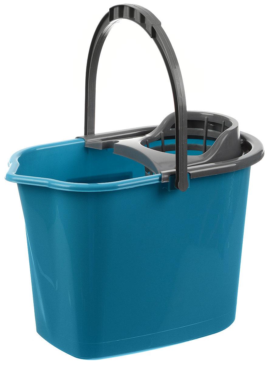 Ведро для уборки York, с насадкой для отжима швабры, цвет: бирюзовый, серый, 10 лKOC_SOL249_G4Ведро York, изготовленное из полипропилена, порадует практичных хозяек. Изделие снабжено специальной насадкой, которая обеспечивает интенсивный отжим ленточных швабр. Это значительно уменьшает физические нагрузки при мытье полов. Насадка надежно крепится на ведро и также легко снимается, позволяя хранить ее отдельно. Для удобного использования ведро оснащено эргономичной ручкой.Размер ведра (по верхнему краю): 35 х 22 см.Высота: 24 см.