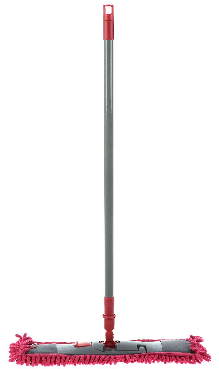 Швабра York Salsa, с рукояткой, цвет: серый, малиновый, длина 82 см787502Швабра York Salsa на плоской пластикой подошве идеально подходит для мытья любых типов напольных покрытий. Плоская насадка, выполненная из микрофибры с крупным ворсом, позволяет быстро и эффективно ухаживать за всеми видами полов. Швабра оснащена металлическим черенком с петлей, которая позволит повесить на крючок в любом удобном для вас месте.Швабра York Salsa обеспечивает высокое качество уборки без применения химии.Длина швабры: 82 см.Размер рабочей части: 41 х 12,5 см.