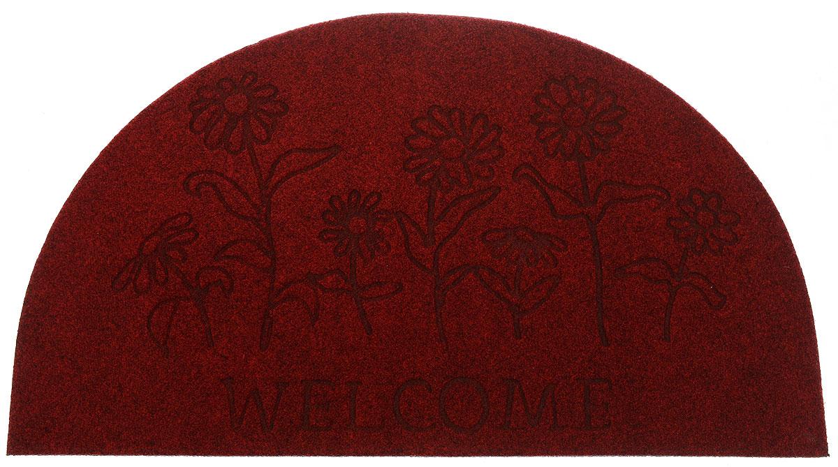 Коврик придверный EFCO Оскар. Цветы, цвет: красный, 65 х 40 см