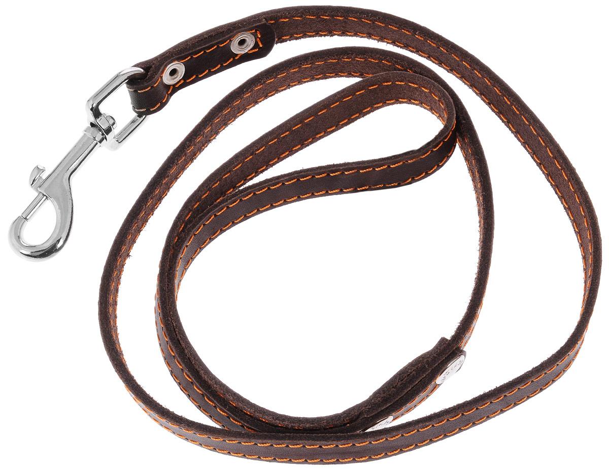 Поводок для собак Каскад Классика, цвет: темно-коричневый, ширина 1,5 см, длина 120 см0120710Поводок для собак Каскад Классика изготовлен из натуральной кожи и снабжен металлическим карабином. Изделие отличается не только исключительной надежностью и удобством, но и привлекательным дизайном. Он идеально подойдет для активных собак, для прогулок на природе и охоты. Поводок - необходимый аксессуар для собаки. Ведь в опасных ситуациях именно он способен спасти жизнь вашему любимому питомцу.Длина поводка: 120 см.Ширина поводка: 1,5 см.