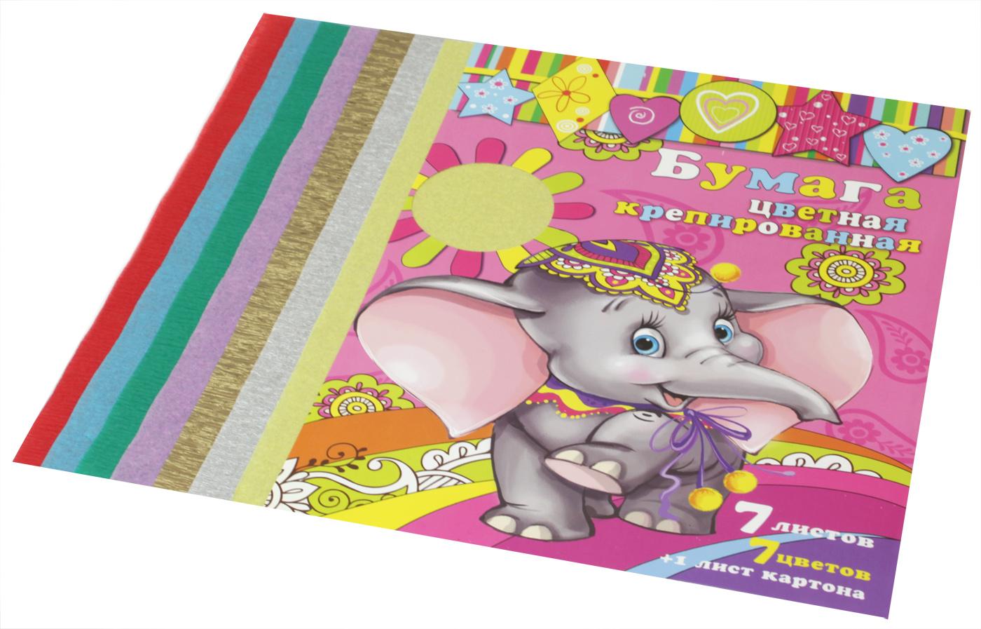 Феникс+ Крепированная металлизированная бумага 7 листов + 1 лист картона72523WDНабор цветной бумаги Феникс+ позволит создавать всевозможные аппликации и поделки. Набор включает 5 листов крепированной металлизированной бумаги и лист картона. Цвета бумаги в наборе: красный, желтый, голубой, зеленый, коричневый, серебристый, золотистый. Такая бумага может использоваться для упаковки, поделок, декорирования и других видов творчества.
