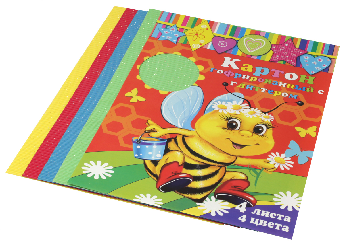 Феникс+ Картон для хобби и рукоделия цветной гофрированный с глиттерным напылением 4 листа05541В набор входят 4 листа гофрированного картона с глиттерным напылением. Цвета в наборе: красный, зеленый, синий, желтый.Гофрированный картон может использоваться для упаковки, поделок, декорирования и других видов творчества.Размеры: 210х297 мм.Материал: картон.Упаковка: пластиковый пакет с подвесом.